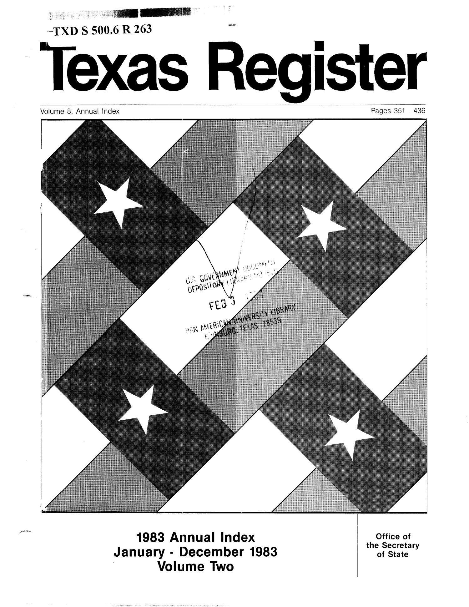 Texas Register, Volume 8, Annual Index II, Pages 351-436, February 3, 1983                                                                                                      Title Page