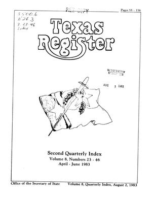 Primary view of object titled 'Texas Register, Volume 8, Quarterly II Numbers 23-46, Pages 55-156, August 2, 1983'.