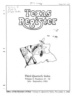 Primary view of object titled 'Texas Register, Volume 8, Quarterly Index III Numbers 47-72, Pages 157-220, November 1, 1983'.