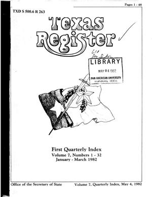 Primary view of object titled 'Texas Register, Volume 7, 1982 Quarterly Index I, Pages 1-48, May 4, 1982'.