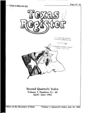 Primary view of object titled 'Texas Register, Volume 7, Quarterly Index II, Pages 49-94, July 30, 1982'.