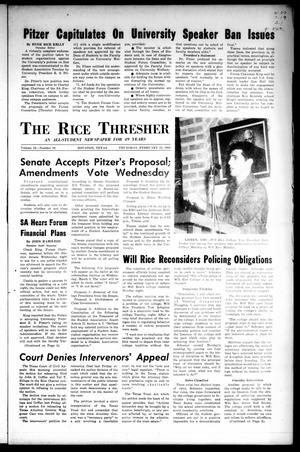 Primary view of object titled 'The Rice Thresher (Houston, Tex.), Vol. 52, No. 19, Ed. 1 Thursday, February 25, 1965'.