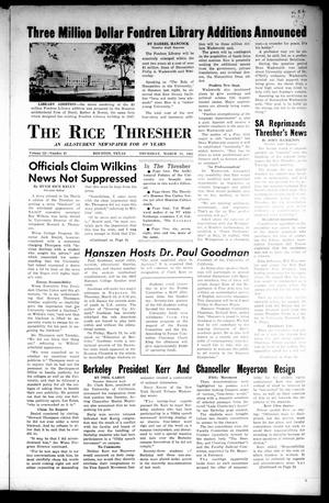 Primary view of object titled 'The Rice Thresher (Houston, Tex.), Vol. 52, No. 21, Ed. 1 Thursday, March 11, 1965'.
