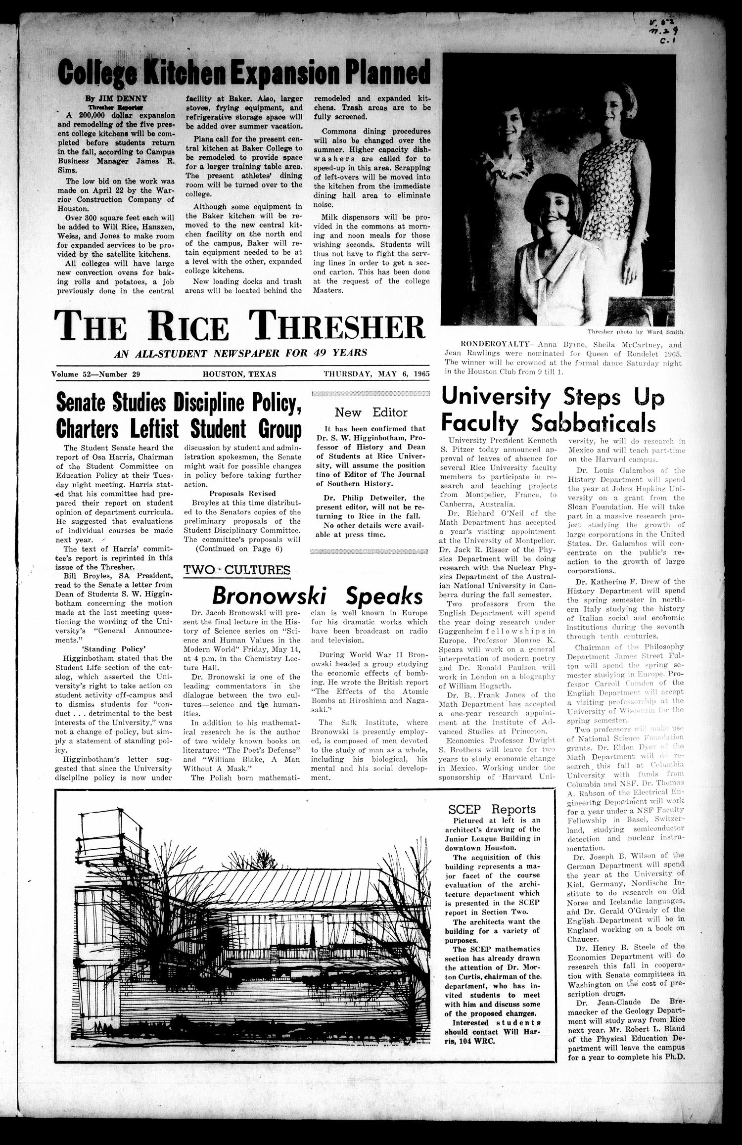 The Rice Thresher (Houston, Tex.), Vol. 52, No. 29, Ed. 1 Thursday, May 6, 1965                                                                                                      [Sequence #]: 1 of 16