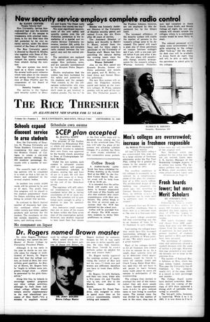 Primary view of object titled 'The Rice Thresher (Houston, Tex.), Vol. 54, No. 2, Ed. 1 Thursday, September 22, 1966'.