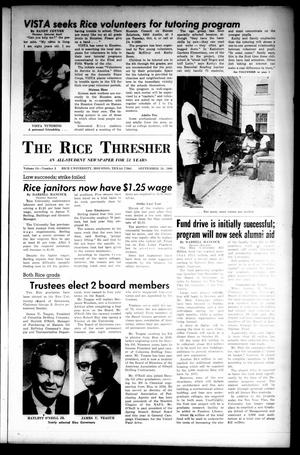 Primary view of object titled 'The Rice Thresher (Houston, Tex.), Vol. 54, No. 3, Ed. 1 Thursday, September 29, 1966'.