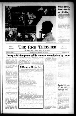 Primary view of object titled 'The Rice Thresher (Houston, Tex.), Vol. 54, No. 7, Ed. 1 Thursday, October 27, 1966'.
