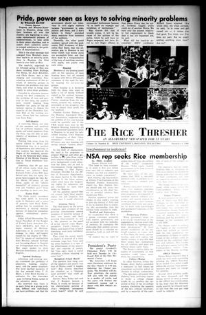 Primary view of object titled 'The Rice Thresher (Houston, Tex.), Vol. 54, No. 12, Ed. 1 Thursday, December 8, 1966'.