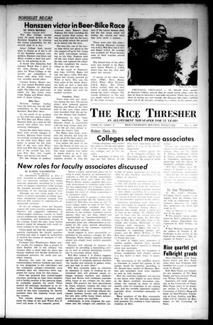 Primary view of object titled 'The Rice Thresher (Houston, Tex.), Vol. 54, No. 27, Ed. 1 Thursday, May 4, 1967'.