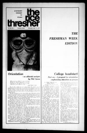 Primary view of object titled 'The Rice Thresher (Houston, Tex.), Vol. 55, No. 1, Ed. 1 Thursday, September 14, 1967'.