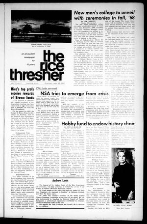 Primary view of object titled 'The Rice Thresher (Houston, Tex.), Vol. 55, No. 2, Ed. 1 Thursday, September 21, 1967'.