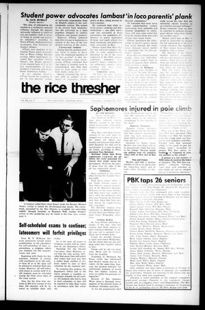 Primary view of object titled 'The Rice Thresher (Houston, Tex.), Vol. 55, No. 7, Ed. 1 Thursday, October 26, 1967'.