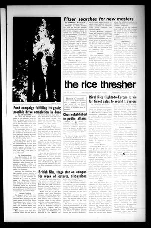 Primary view of object titled 'The Rice Thresher (Houston, Tex.), Vol. 55, No. 13, Ed. 1 Thursday, December 14, 1967'.