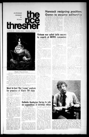 Primary view of object titled 'The Rice Thresher (Houston, Tex.), Vol. 55, No. 14, Ed. 1 Thursday, January 11, 1968'.