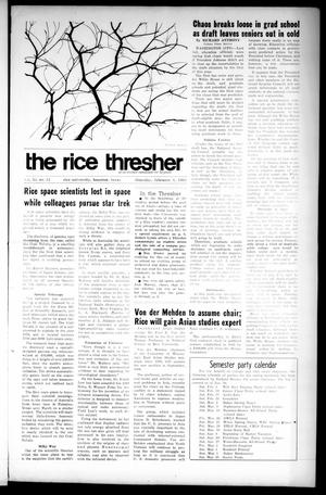 Primary view of object titled 'The Rice Thresher (Houston, Tex.), Vol. 55, No. 15, Ed. 1 Thursday, February 1, 1968'.