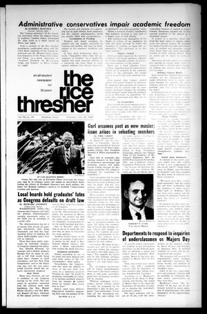 Primary view of object titled 'The Rice Thresher (Houston, Tex.), Vol. 55, No. 19, Ed. 1 Thursday, February 29, 1968'.