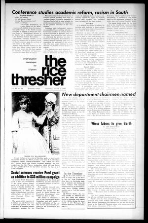 Primary view of object titled 'The Rice Thresher (Houston, Tex.), Vol. 55, No. 20, Ed. 1 Thursday, March 7, 1968'.