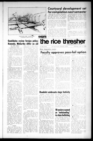 Primary view of object titled 'The Rice Thresher (Houston, Tex.), Vol. 55, No. 27, Ed. 1 Thursday, May 2, 1968'.