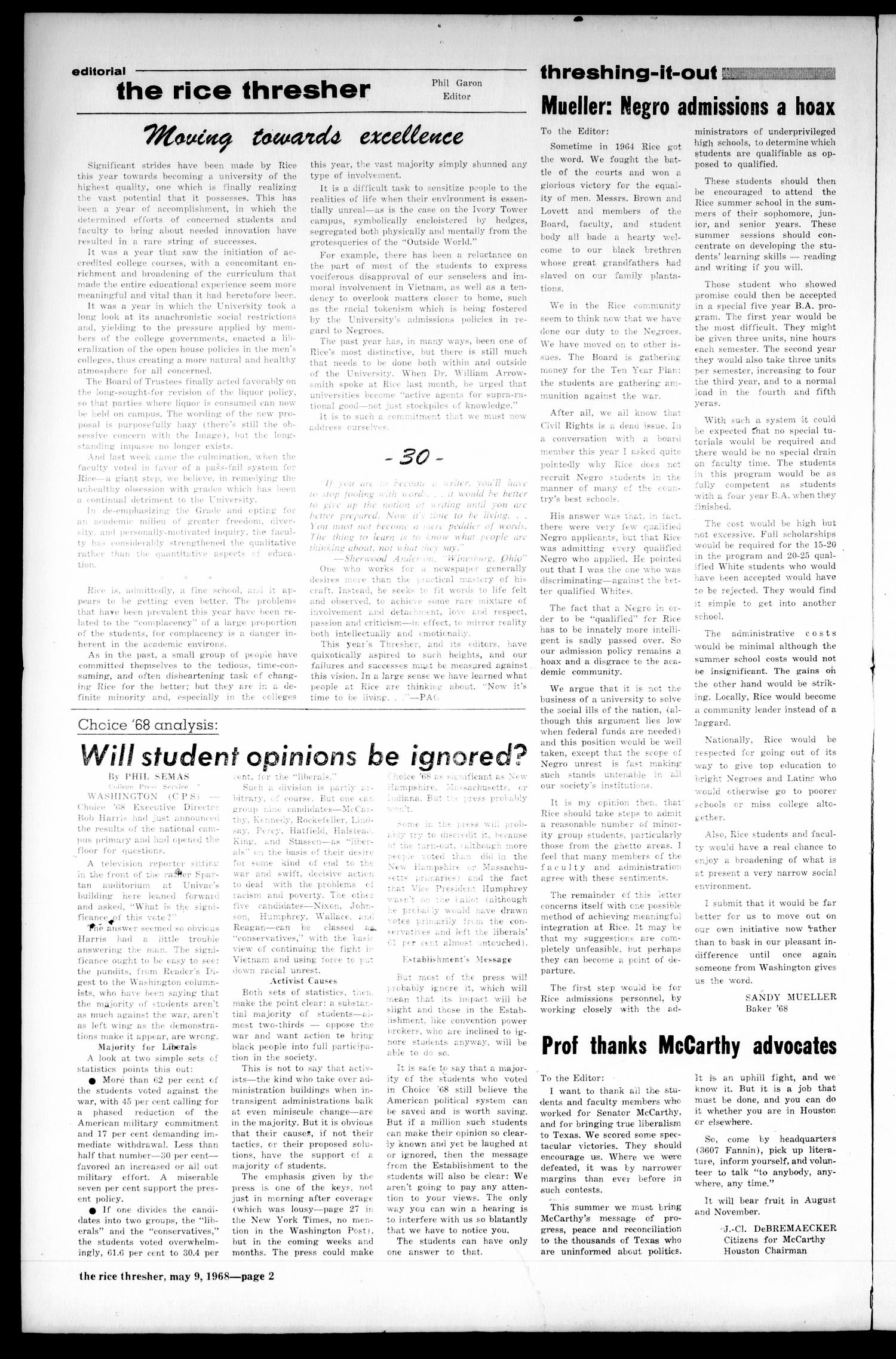 The Rice Thresher (Houston, Tex.), Vol. 55, No. 28, Ed. 1 Thursday, May 9, 1968                                                                                                      [Sequence #]: 2 of 12