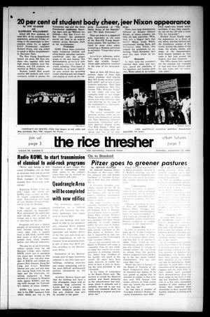 Primary view of object titled 'The Rice Thresher (Houston, Tex.), Vol. 56, No. 2, Ed. 1 Thursday, September 12, 1968'.