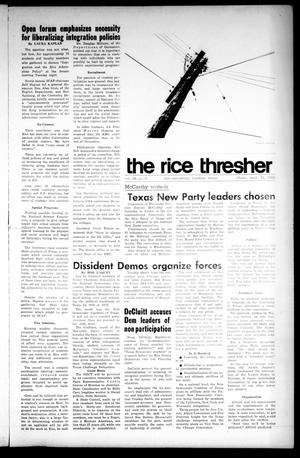 Primary view of object titled 'The Rice Thresher (Houston, Tex.), Vol. 56, No. 3, Ed. 1 Thursday, September 19, 1968'.