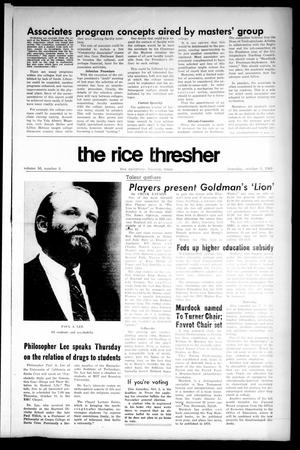 Primary view of object titled 'The Rice Thresher (Houston, Tex.), Vol. 56, No. 5, Ed. 1 Thursday, October 3, 1968'.