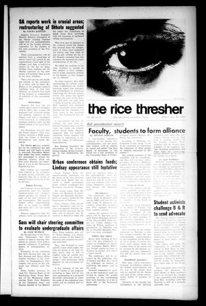 Primary view of object titled 'The Rice Thresher (Houston, Tex.), Vol. 56, No. 6, Ed. 1 Thursday, October 10, 1968'.