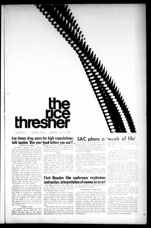 Primary view of object titled 'The Rice Thresher (Houston, Tex.), Vol. 56, No. 7, Ed. 1 Thursday, October 17, 1968'.