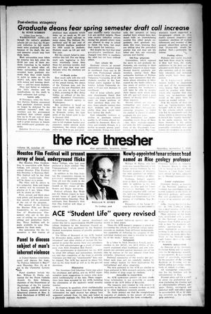 Primary view of object titled 'The Rice Thresher (Houston, Tex.), Vol. 56, No. 10, Ed. 1 Thursday, November 7, 1968'.