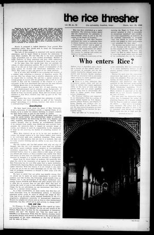 Primary view of object titled 'The Rice Thresher (Houston, Tex.), Vol. 56, No. 12, Ed. 1 Thursday, November 21, 1968'.