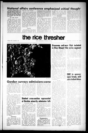 The Rice Thresher (Houston, Tex.), Vol. 56, No. 16, Ed. 1 Thursday, January 16, 1969