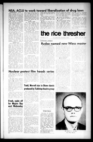 Primary view of object titled 'The Rice Thresher (Houston, Tex.), Vol. 56, No. 18, Ed. 1 Thursday, January 30, 1969'.