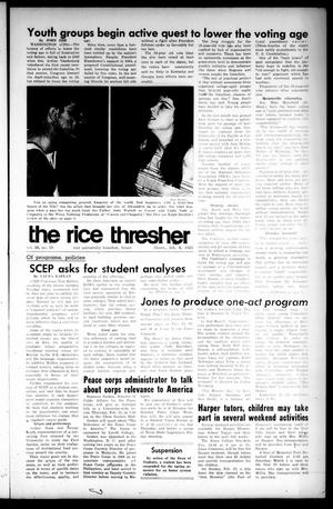 Primary view of object titled 'The Rice Thresher (Houston, Tex.), Vol. 56, No. 19, Ed. 1 Thursday, February 6, 1969'.