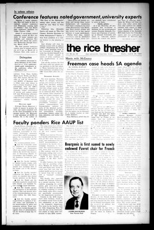 Primary view of object titled 'The Rice Thresher (Houston, Tex.), Vol. 56, No. 24, Ed. 1 Thursday, March 20, 1969'.