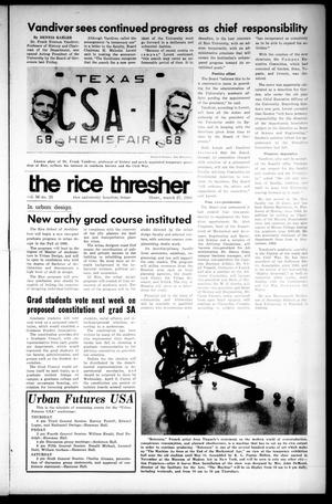 Primary view of object titled 'The Rice Thresher (Houston, Tex.), Vol. 56, No. 25, Ed. 1 Thursday, March 27, 1969'.