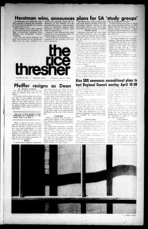 Primary view of object titled 'The Rice Thresher (Houston, Tex.), Vol. 56, No. 26, Ed. 1 Thursday, April 3, 1969'.