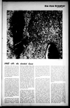 Primary view of object titled 'The Rice Thresher (Houston, Tex.), Vol. 56, No. 29, Ed. 1 Thursday, April 24, 1969'.