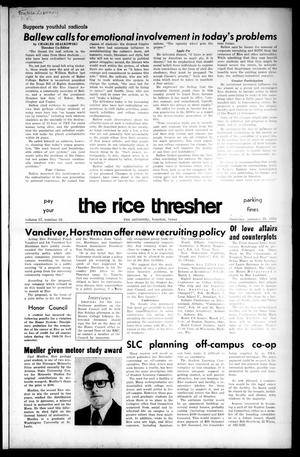 Primary view of object titled 'The Rice Thresher (Houston, Tex.), Vol. 57, No. 16, Ed. 1 Thursday, January 29, 1970'.