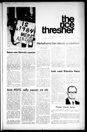 Primary view of object titled 'The Rice Thresher (Houston, Tex.), Vol. 57, No. 17, Ed. 1 Thursday, February 5, 1970'.