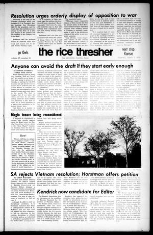 Primary view of object titled 'The Rice Thresher (Houston, Tex.), Vol. 57, No. 21, Ed. 1 Thursday, March 5, 1970'.