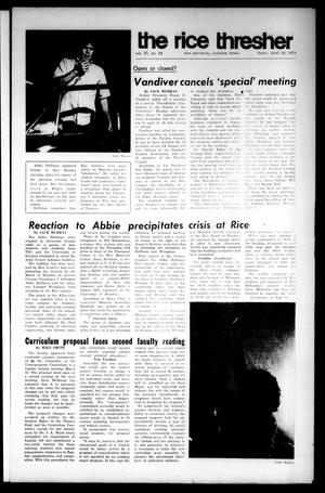 The Rice Thresher (Houston, Tex.), Vol. 57, No. 24, Ed. 1 Thursday, April 16, 1970