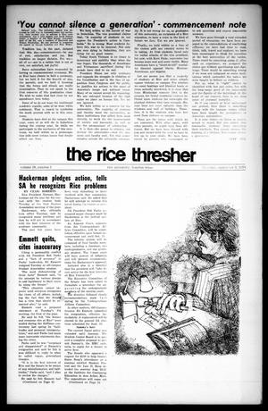 Primary view of object titled 'The Rice Thresher (Houston, Tex.), Vol. 58, No. 1, Ed. 1 Thursday, September 3, 1970'.