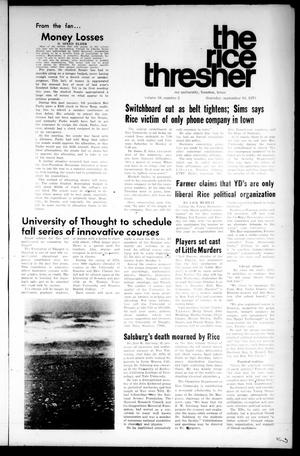 Primary view of object titled 'The Rice Thresher (Houston, Tex.), Vol. 58, No. 2, Ed. 1 Thursday, September 10, 1970'.