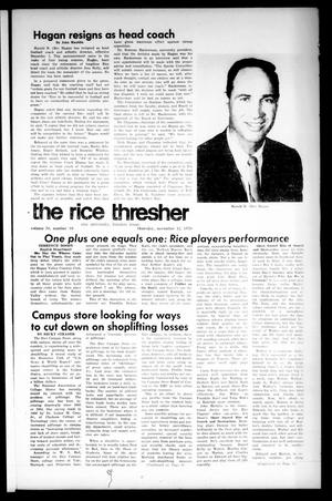 Primary view of object titled 'The Rice Thresher (Houston, Tex.), Vol. 58, No. 10, Ed. 1 Thursday, November 12, 1970'.