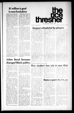 Primary view of object titled 'The Rice Thresher (Houston, Tex.), Vol. 58, No. 12, Ed. 1 Thursday, December 3, 1970'.