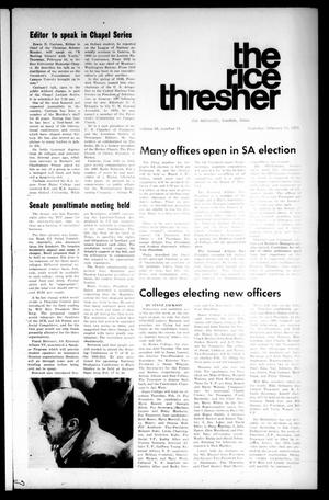 Primary view of object titled 'The Rice Thresher (Houston, Tex.), Vol. 58, No. 18, Ed. 1 Thursday, February 11, 1971'.