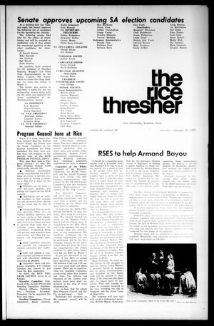 The Rice Thresher (Houston, Tex.), Vol. 58, No. 20, Ed. 1 Thursday, February 25, 1971