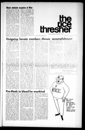 The Rice Thresher (Houston, Tex.), Vol. 58, No. 21, Ed. 1 Thursday, March 11, 1971