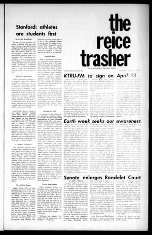 Primary view of object titled 'The Rice Thresher (Houston, Tex.), Vol. 58, No. 23, Ed. 1 Thursday, April 1, 1971'.