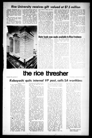 Primary view of object titled 'The Rice Thresher (Houston, Tex.), Vol. 59, No. 1, Ed. 1 Thursday, September 2, 1971'.